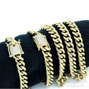 Harlembling Gold Miami Cuban Bracelet & Chain Set